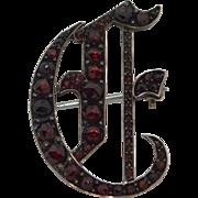 Victorian Sterling Silver Gilt Rose Cut Garnet Pin Brooch