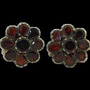 Victorian 10K & Sterling Silver Screw Back Garnet Earrings