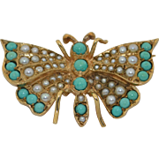 Victorian 9K Persian Turquoise & Seed Pearl Butterfly insect Brooch 1887-1888 Hallmarked