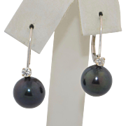 Vintage 14K White Gold Diamond and Black Pearl Earrings