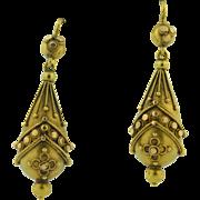 Victorian 14K Etruscan Drop Earrings