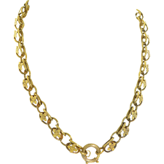14K Yellow Gold Edwardian Book Chain Necklace