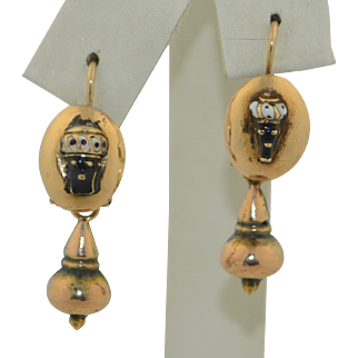 Victorian 14K Blackamoor Day & Night Earrings