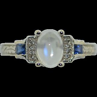 Vintage 14K White Gold Moonstone Sapphire & Diamond Ring