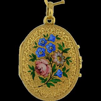 Exquisite French 18K Victorian Enamel Locket