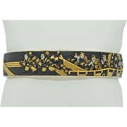Very Fine Shakudo Japanese Bracelet with Gold and Silver on Bronze Sterling Silver