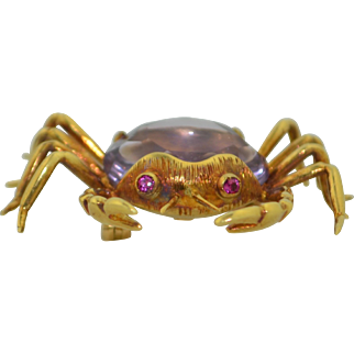 Retro 18K Amethyst & Ruby Crab Pin ~ Brooch