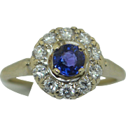 Art Deco 14K Gem Fine Sapphire with .30 pts diamonds Halo Ring