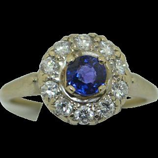 Art Deco 14K Gem Fine Sapphire with .30 pts diamonds Halo Ring