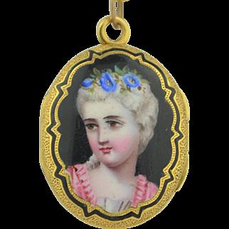 18K Victorian Enamel Portrait Locket