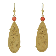14K Victorian Left & Right Facing Lava Cameo Drop Earrings with Coral