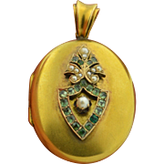Edwardian 15K Emerald and Pearl Locket