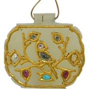 17th Century Jade 24K Yellow Gold & Precious Stone Pendant