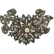 Georgian Old Mine Cut & Rose Cut Diamond 18K & Sterling Silver Brooch