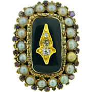 Georgian 14K Diamond Pearl Amethyst & Enamel Ring