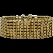 Victorian Sterling Silver Gold Gilt Wide Mesh Bracelet
