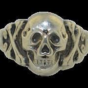 Victorian Dutch Sterling Silver Skull & Cross Bone Ring SZ 10.5 US