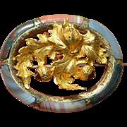 Victorian Scottish 18K & 12K Yellow Gold Garnet Thistle Banded Agate Brooch