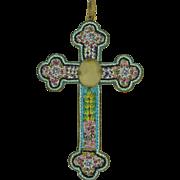 4 Inch Micro Mosaic Cross with Pope Leo 1900's-1930's Italian
