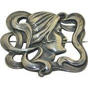 Large Art Nouveau Sterling Silver Pin Brooch