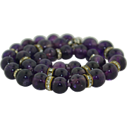 "10mm Amethyst Art Deco Bead Necklace with Rhinestones 17"""