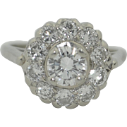 1.35 Carat Fine Diamond Halo Engagement Ring 14K White Gold