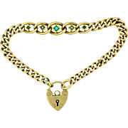 Victorian 9K Rose Gold Love Bracelet with Pad Lock, Pearls & Persian Turquoise