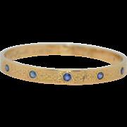 14K Sapphire Art Deco Bangle Engraved & Dated Bracelet