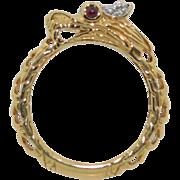 John Hardy 18K Diamond & Ruby Dragon Ring Legends Naga Collection