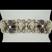 Art Nouveau French Sterling Silver and Garnet Medieval medusa Bracelet