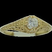 18K Yellow Gold Filigree .43pt Diamond Ring -Wedding - Engagement