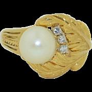 18K  Pearl 9mm &  Diamond Retro Ring
