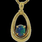 14K Black Opal Pendant