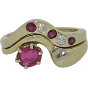 14K Ruby and Diamond Ring Set - Suite