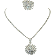 18K Diamond Ring and Pendant Suite