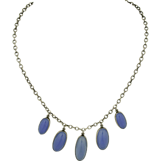 Vintage Blue Chalcedony 835 Silver Necklace ~ Sweden