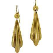 Lengthy Victorian 14K Etruscan Drop Earrings