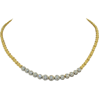 14K White & Yellow Gold 2CT+ Diamond Necklace