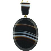 Victorian Banded Agate Large Pendant