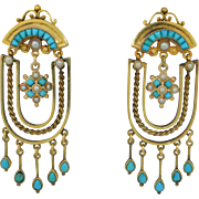 Edwardian Pearl & Persian Turquoise 14K & 10K Earrings