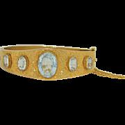 Victorian 12 CTW Aquamarine in 12K Yellow Gold Bracelet
