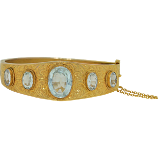 Victorian 12 CTW Aquamarine in 12K Yellow Gold Bracelet