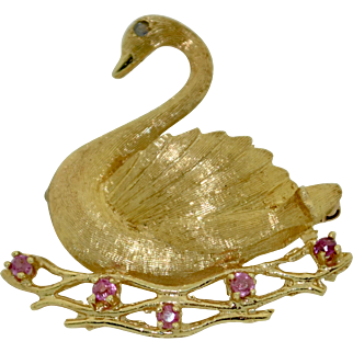 Retro 14K Ruby and Sapphire Swan Brooch - Pin