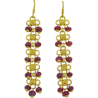 Vintage 20K Yellow Gold with Rubies Long Dangle Earrings