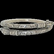 Art Deco Heavy Sterling Silver Snake Bypass Bracelet ~ Armlet ~ 87 grams