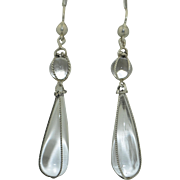 Art Deco Sterling Silver Pools of Light Rock Crystal Earrings