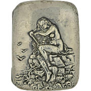 Unger Brothers Art Nouveau Sterling Silver Mermaid Cigarette Case
