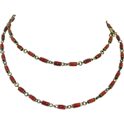 Sterling Silver & Red Enamel Art Deco Necklace - Chain