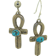 1930's Sterling Silver & Natural Turquoise Ankh Earrings