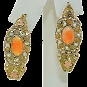 Georgian Boxed 14K Pearl & Carnelian Earrings